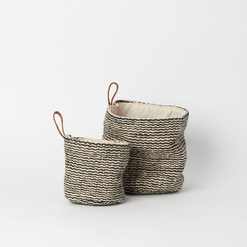 Jute Wall Baskets with Leather Loop (Set of 2)