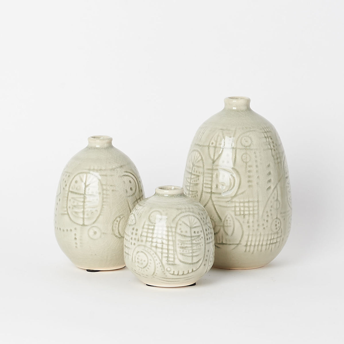 Glazed Vase Trio (Set of 3)