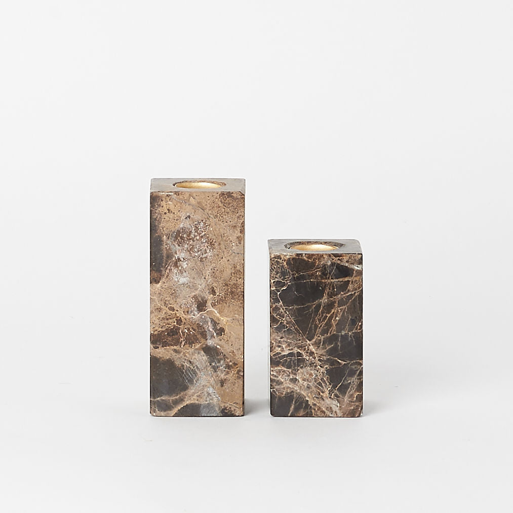 Dark Marble Candlestick Holders (Set of 2)