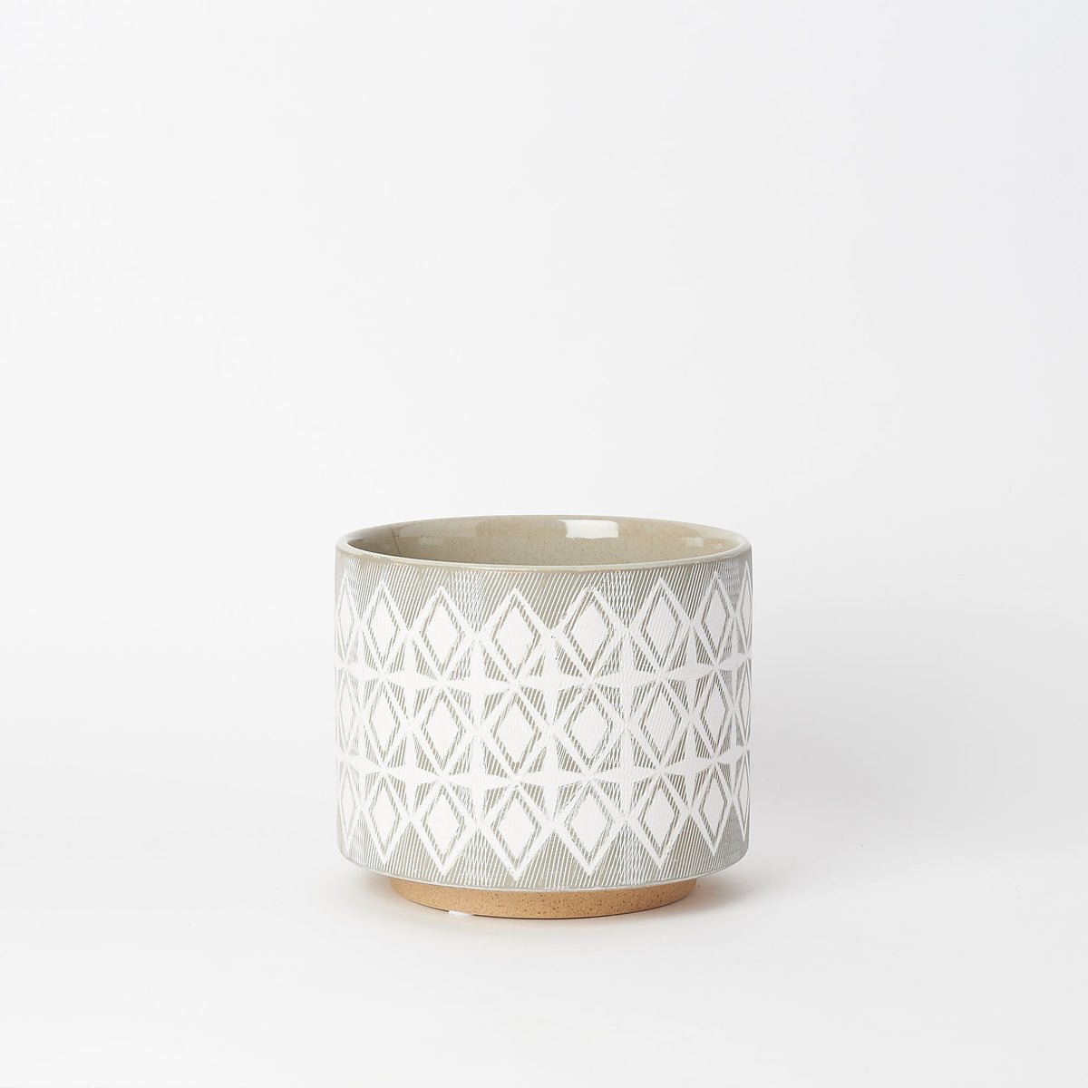 Diamond Patterned Stoneware Planter