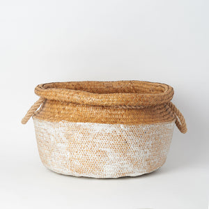 White Dipped Natural Seagrass Basket