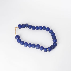 Large Sea Glass Beads in Dark Blue