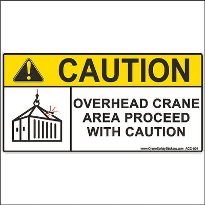 Overhead Crane Area Proceed With Caution Crane Safety Sign.