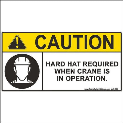 Crane Safety Sign Caution Hard Hat Required When Crane Is In Operation.