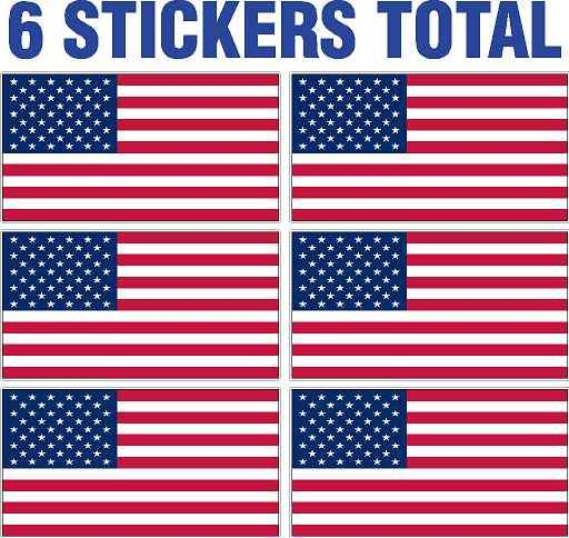 American Flag Hard Hat Sticker 6 pack