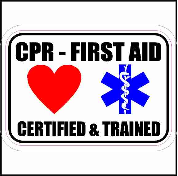 CPR Certified First Aid Trained Sticker