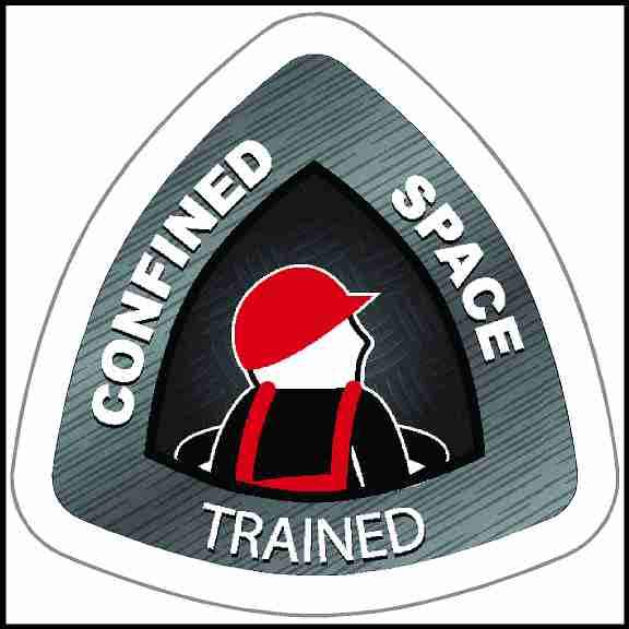 Etched Metal Looking Confined Space Trained Hard Hat Sticker