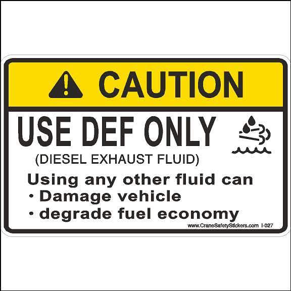 DEF Only Sticker Use DEF Only Diesel Exhaust Fluid