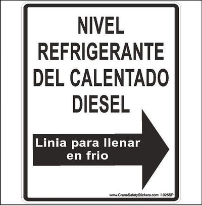 Crane Label Diesel Heater Coolant Level Printed in Spanish