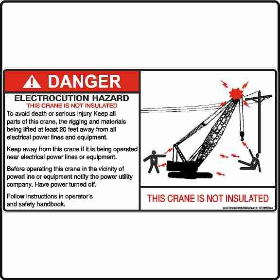 Crawler Crane and Lattice Boom Crane Electrocution Hazard Crane Is Not Insulated Decal