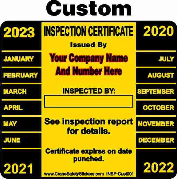 Custom Crane Inspection Sticker Add Your Own Name And Number