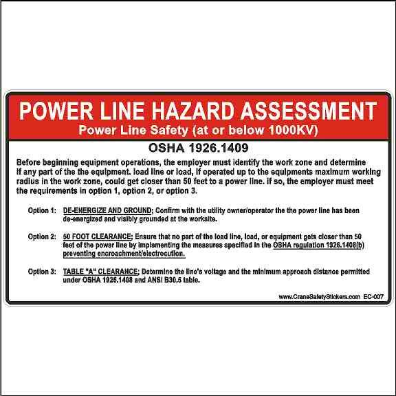 OSHA 1926.1409 Power Line Hazard Assessment Crane Safety Decal Electrocution Hazard
