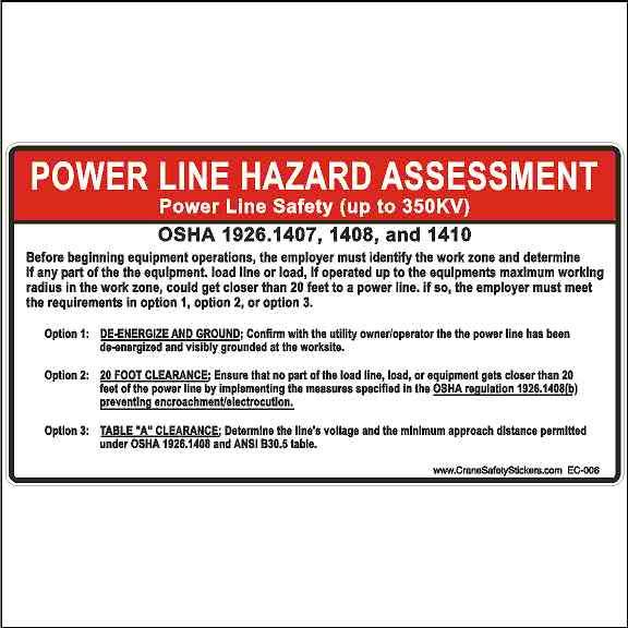 OSHA 1926.1407 OSHA 1926.1408 OSHA 1926.1410 Power Line Hazard Assessment Safety Decal
