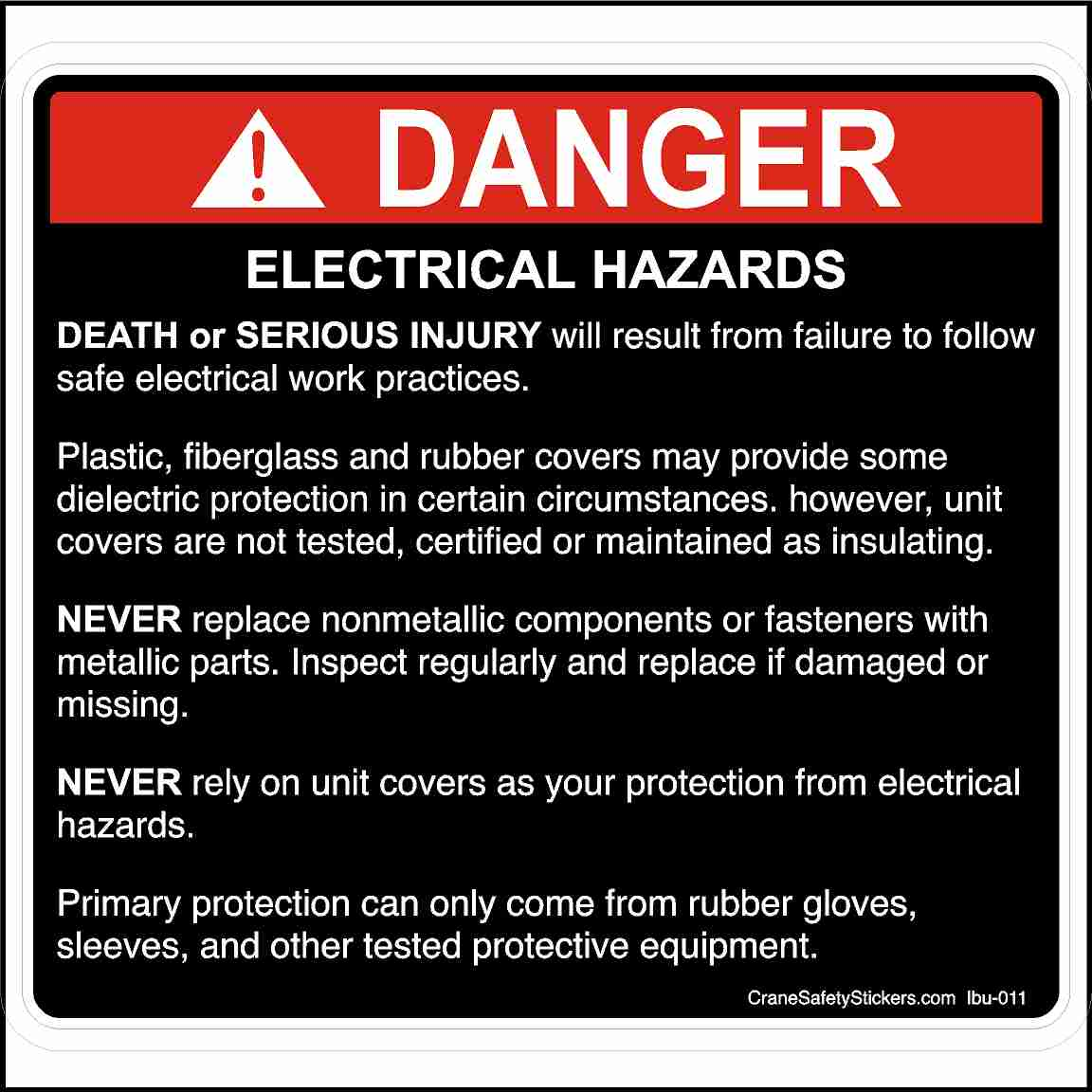 Bucket Truck Electrical Hazards Failure to Follow Safe Electrical Practices Sticker
