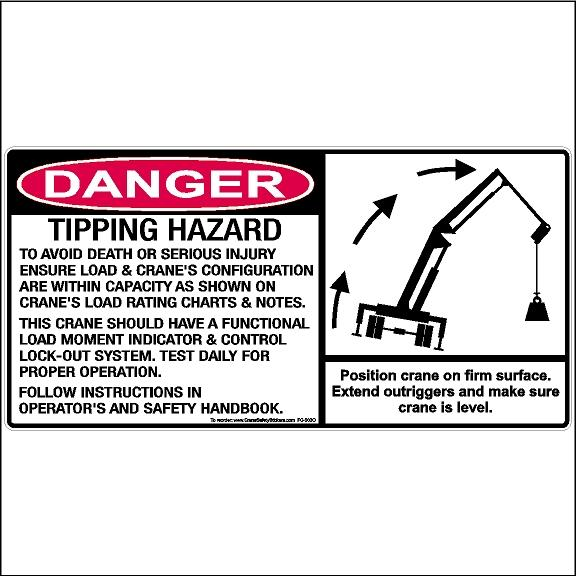 Danger Tipping Hazard Decal OSHA Crane Safety Sticker