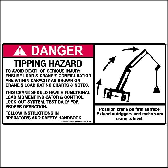 Crane Safety sticker Printed with, Position crane on firm surface. Extend outriggers and make sure crane is level.