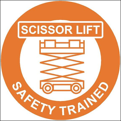 Scissor Lift Safety Trained Hard Hat Safety Stickers