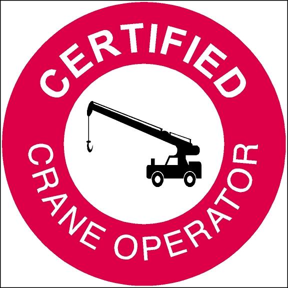 Certified Crane Operator Hard Hat Crane Sticker