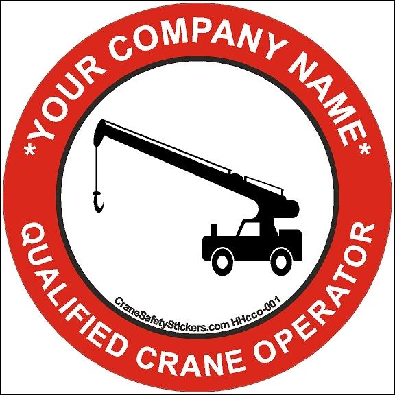 Qualified Crane Operator Hard Hat Safety Sticker Add Your Own Text.