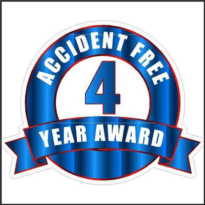 Hard Hat Stickers Accident Free 4 Year Award