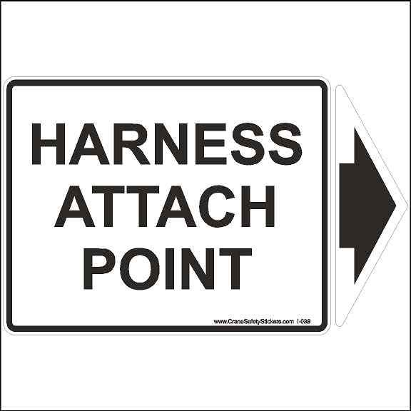 Harness Attach Point Sticker Safety With Detachable Arrow Label