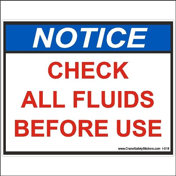 Check All Fluids Before Use Sticker