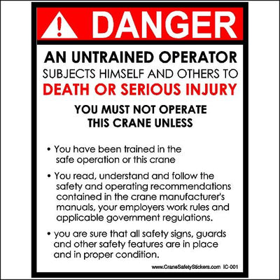 Untrained Operator Stickers For Cranes and Heavy Equipment
