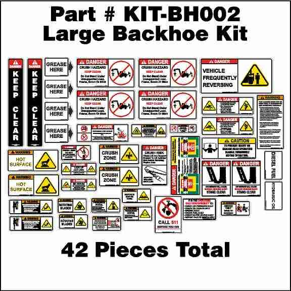 Large Backhoe Safety Sticker Kit