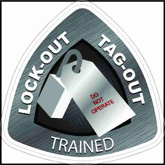 Lock-Out Tag-Out Trained Hard Hat Sticker