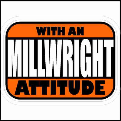 Millwright With An Attitude Hard Hat Sticker Rectangle