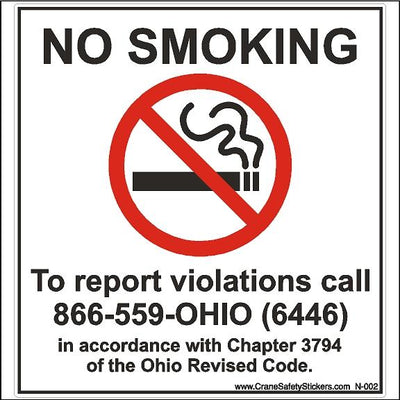 No Smoking Decal For Ohio Chapter 3794 of Ohio Revised Code.