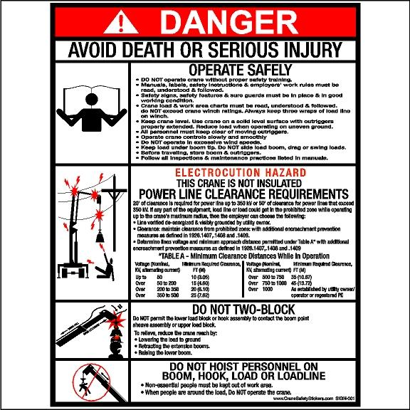 Crane Safety Sticker Operate Safely Power Line Clearance Two Block Do Not Hoist