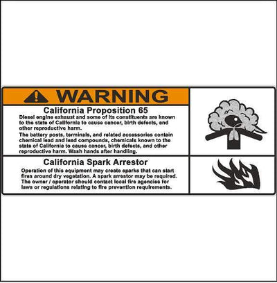 Safety Label California Proposition 65 and Spark Arrestor