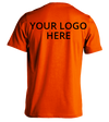 Safety Orange Short Sleeve T-Shirt Printed With Your Company Logo on back.