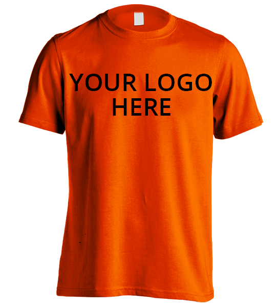 Safety Orange Short Sleeve T-Shirt Printed With Your Company Logo on front.