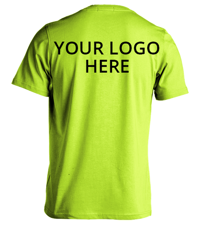 Safety Green Short Sleeve T-Shirt Printed With Your Company Logo Back