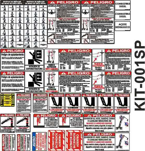 Spanish Boom Truck Safety Sticker Kit Spanish Crane Safety Label Kit