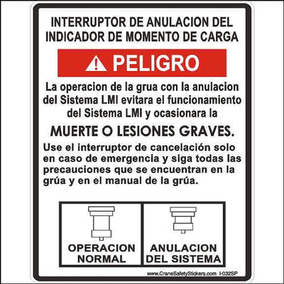 Spanish National Crane Load moment Indicator Decal