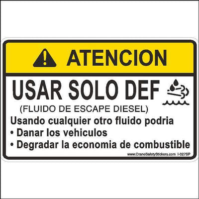 Spanish Crane Safety Label Use DEF Only Diesel Exhaust Fluid