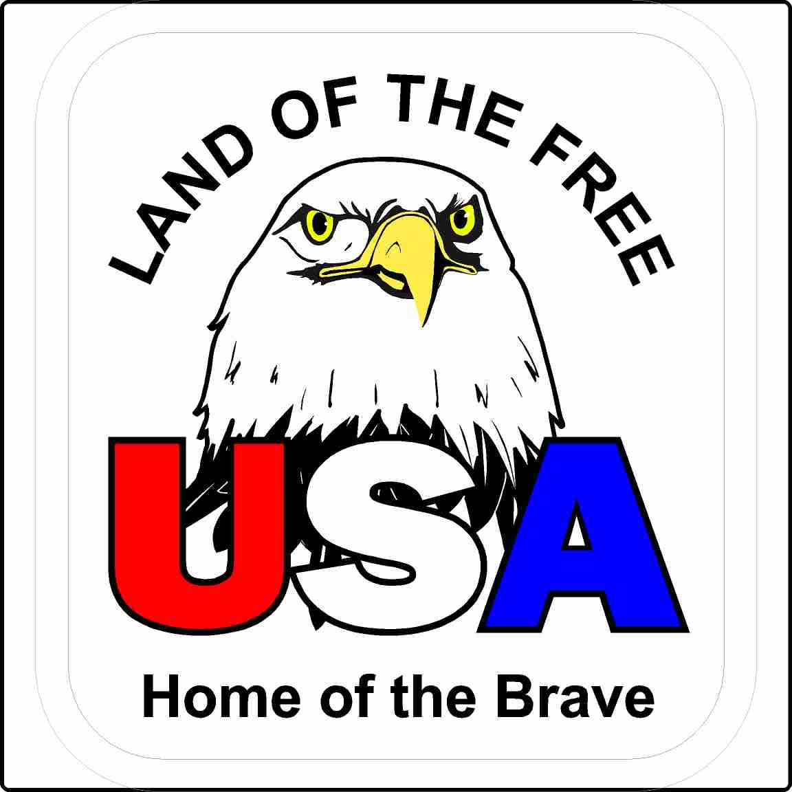 USA Land of the Free Home of the Brave Sticker