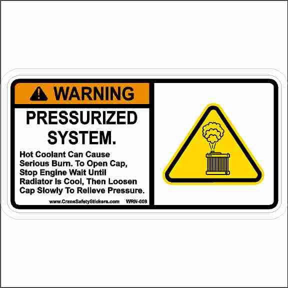 Warning Pressurized System Safety Sticker