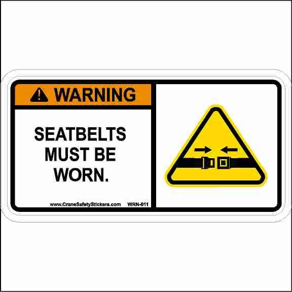 WARNING Seat Belts Must Be Worn Sticker