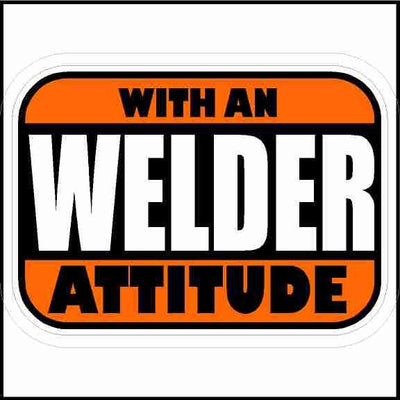 Welder With An Attitude Hard Hat Sticker Rectangle
