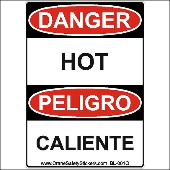 Bilingual Safety Sticker Danger Hot Peligro Caliente Osha Ansi