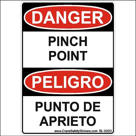 Bilingual Danger Pinch Point Peligro Punto De Aprieto Osha Ansi Compliant Safety Sticker