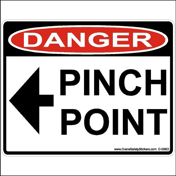 Osha Pinch Point Decal With Left Arrow Warning For Bucket Truck