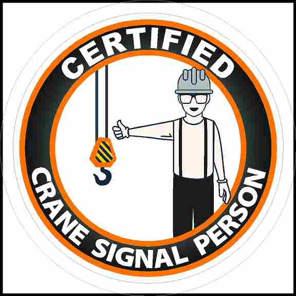 Certified Crane Signal Person Hard Hat Sticker