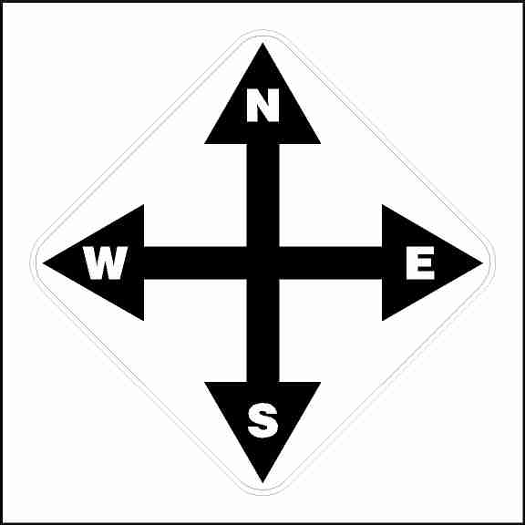 North South East West Crane Directional Decal