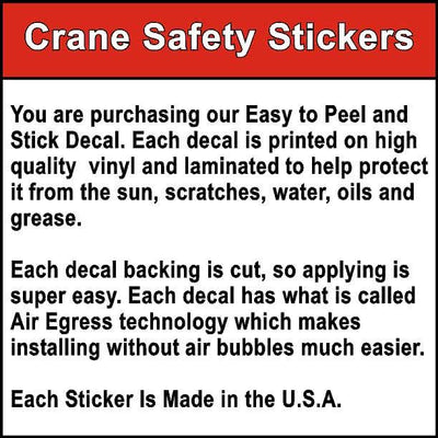 Quality of our Spanish Crane Safety Decal Printed With PELIGRO DOS BLOQUEOS DE LA GRÚA CAUSARÁN.