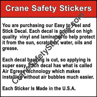 Quality of our Bucket Truck Safety Decal Kit Small Replacement Safety Decal Kit For Cranes